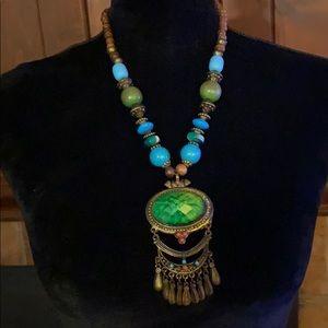 Authentic vintage boho wooden festival necklace